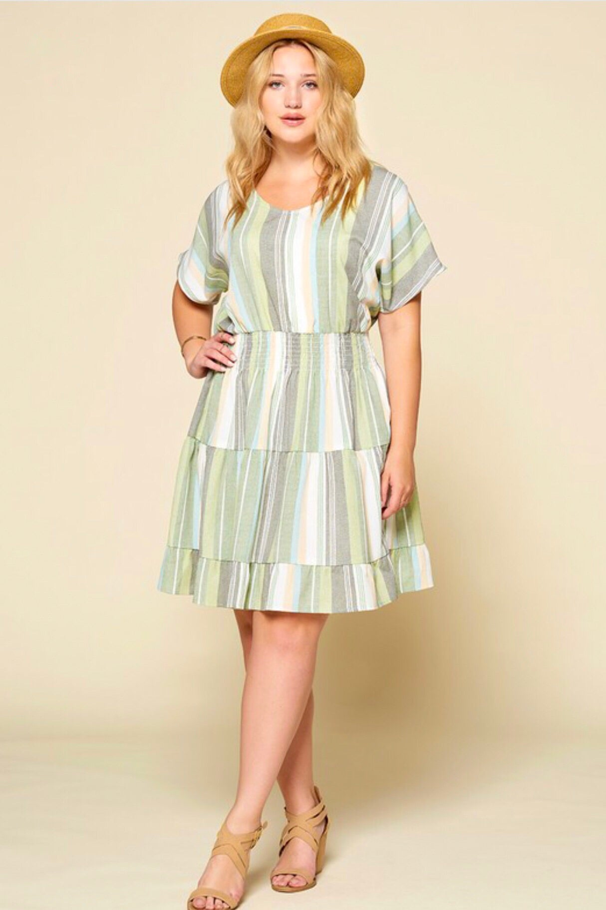 Plus Size Sage Striped Dress