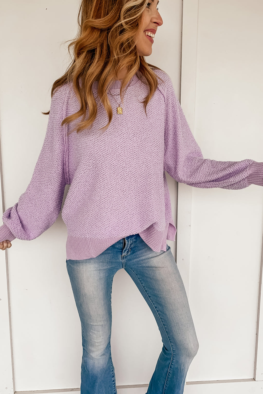 Stephanie Textured Sweater in Lavender