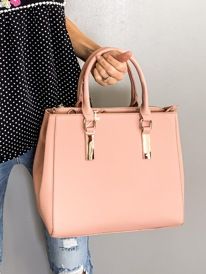 The Kimberly Vegan Leather Bag in Blush