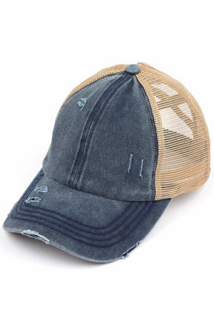 Ponytail Ball Cap in Navy