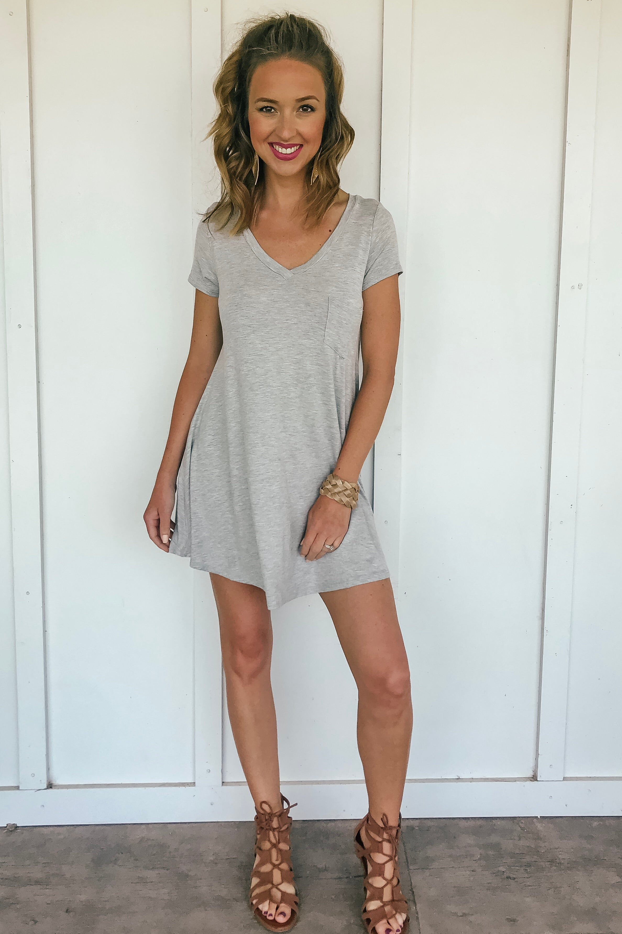 Stacy T-Shirt Dress in Gray