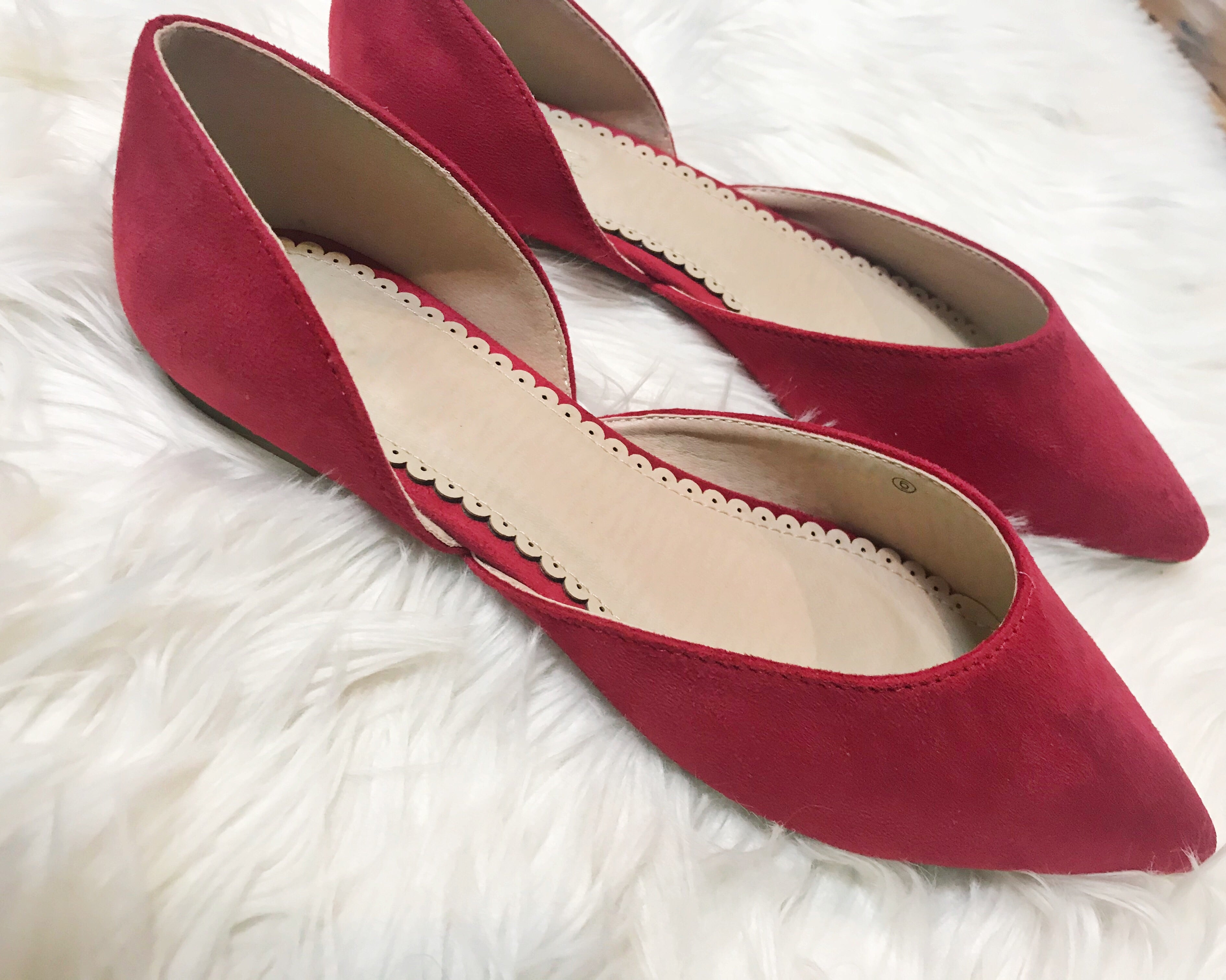 Kensie Faux Suede Red Flats
