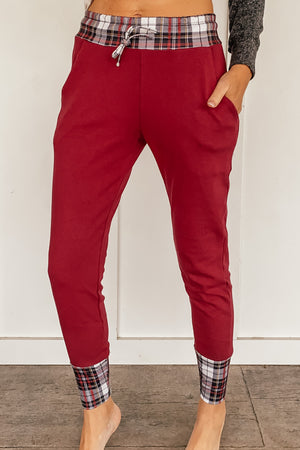 Red Joggers with Christmas Plaid