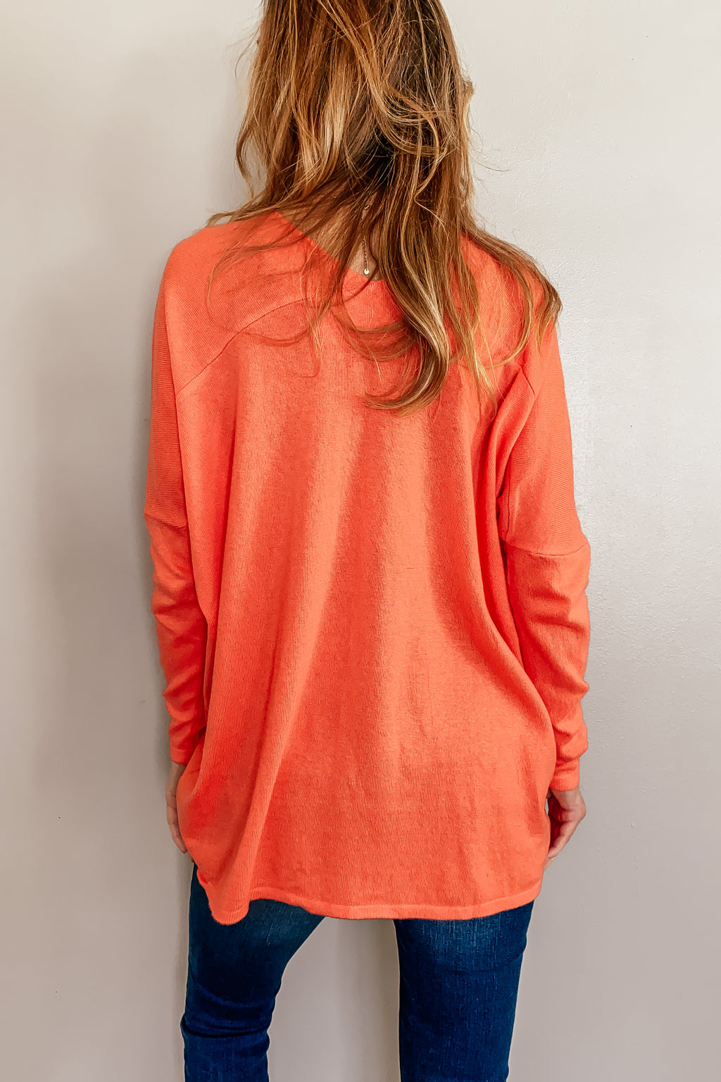 Melly Lightweight Sweater in Coral
