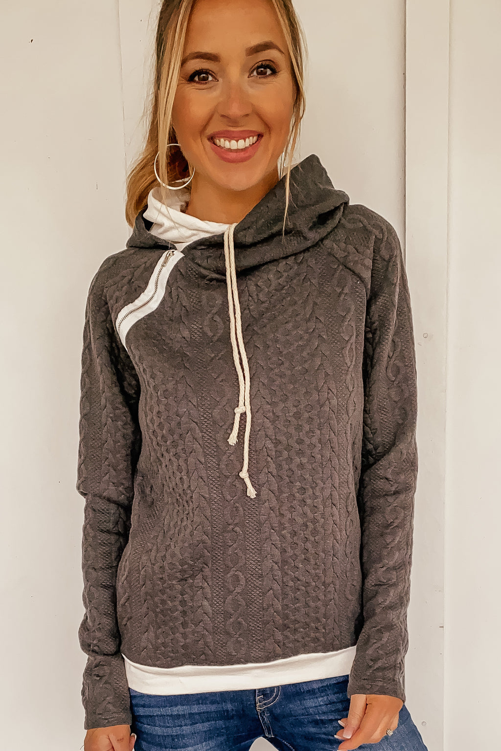 The Double Hooded Sweater Textured Sweatshirt