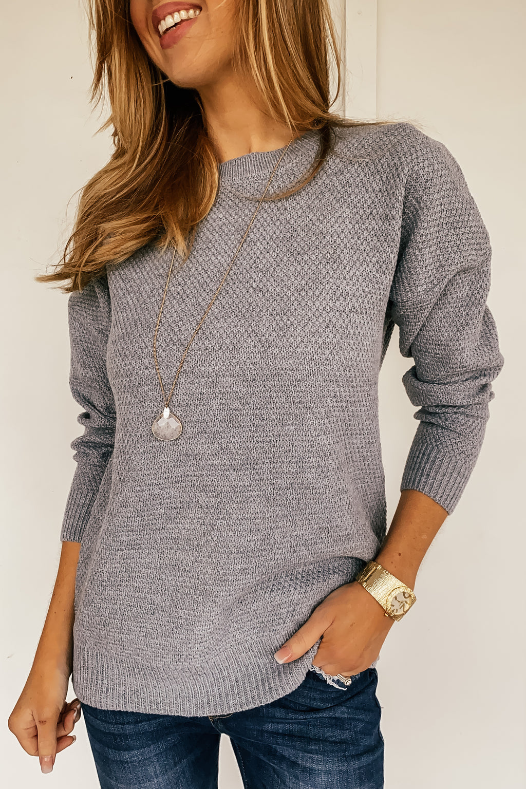 The Simple Shelby Sweater in Heather Grey