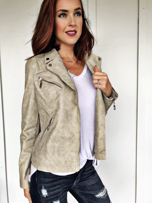 Washed Stone Leather Moto Jacket
