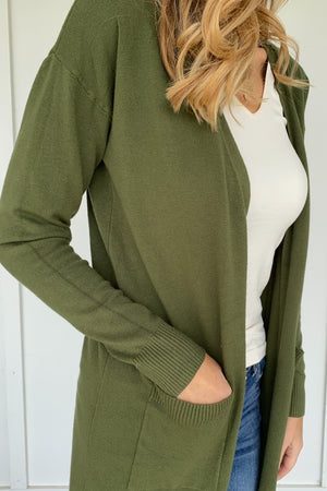 Classic Open Cardigan in Chive