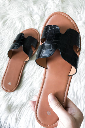 Black Crocodile Slides - LURE Boutique