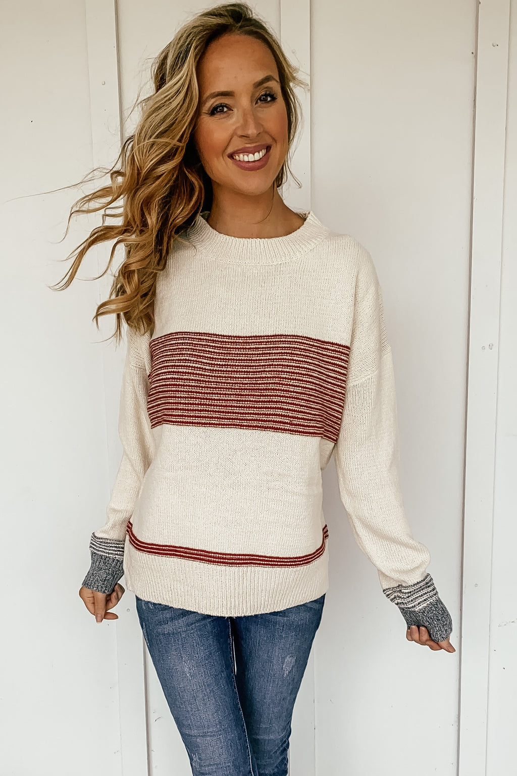 Mandi Block Stripe Sweater in Rust - LURE Boutique