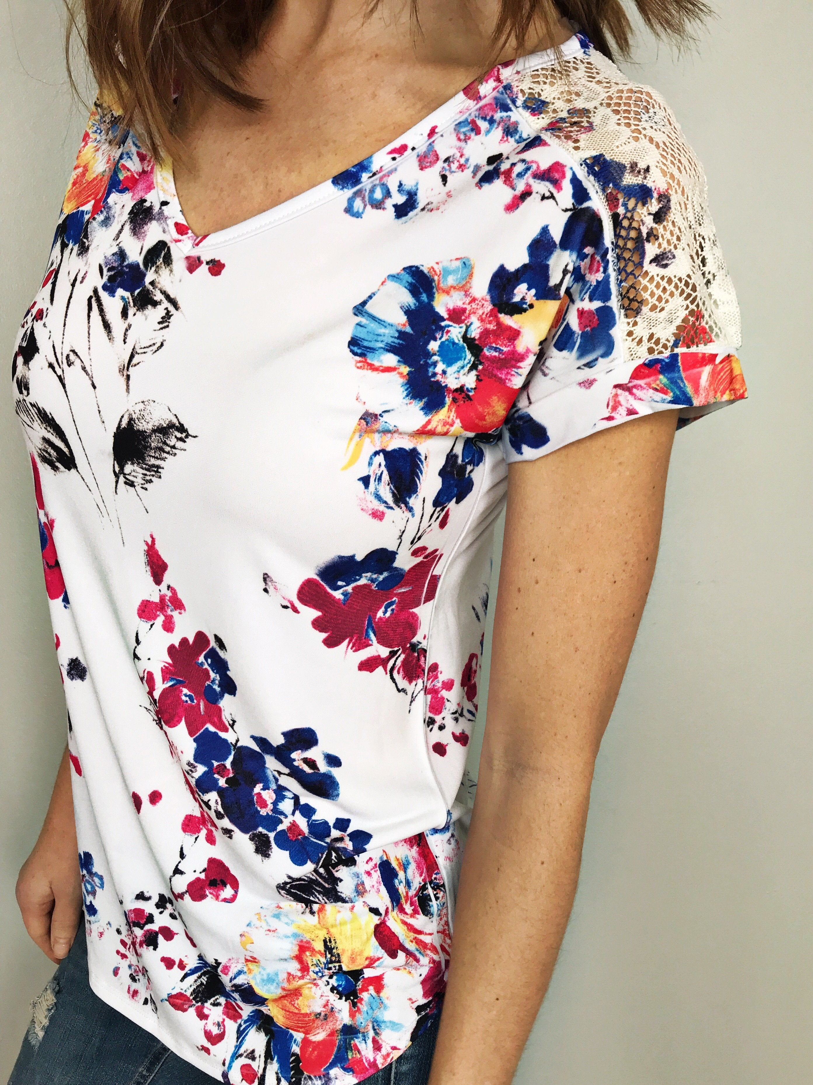 Brianna Floral Top with Lace Shoulders