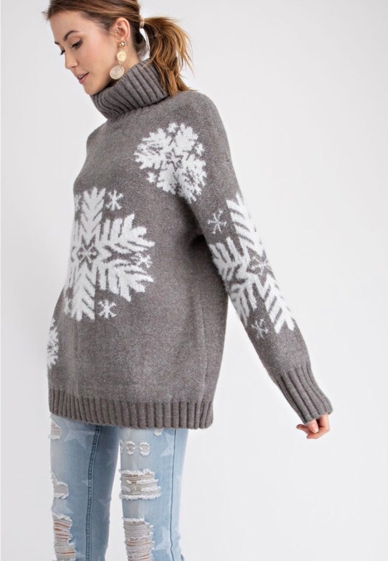 Madison Snowflake Turtleneck Sweater
