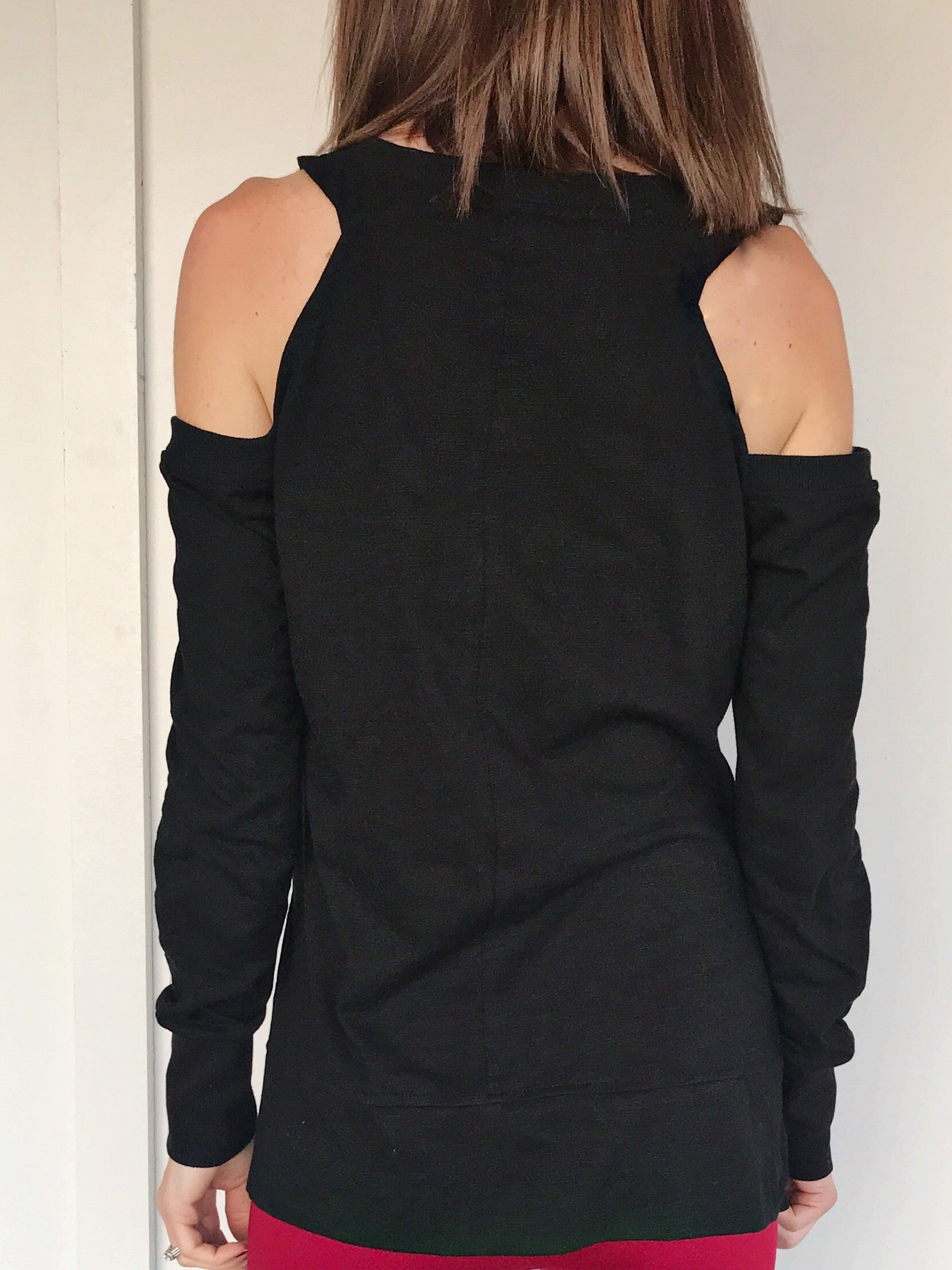 Carlotta Black Cold Shoulder Top