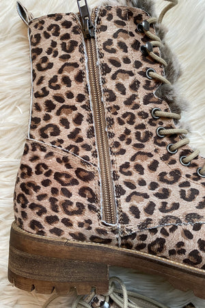 Leopard Lace Up Combat Boots