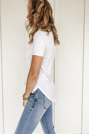 Classic White Tee with Button Detail
