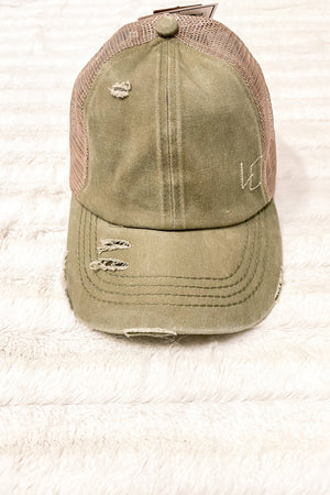 Ponytail Ball Cap in Olive - LURE Boutique