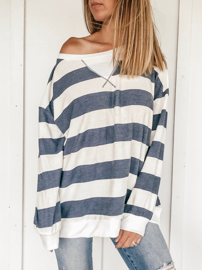 Sassy and Striped French Terry Pullover