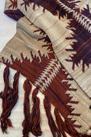 Rust and Plum Aztec Knit Scarf