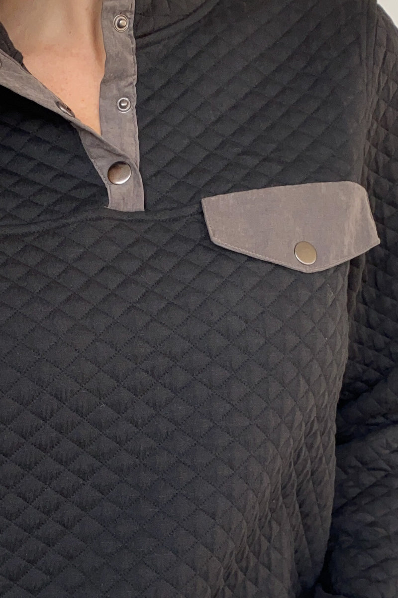 Diamond Quilted Snap Pullover in Black
