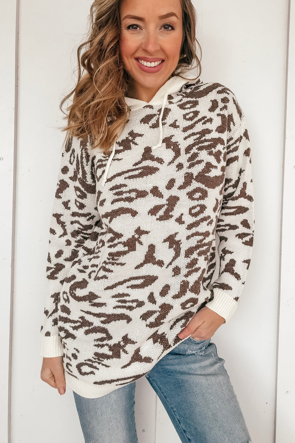 Snow Leopard Hooded Sweater