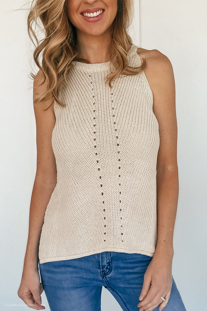 Oatmeal Scoop Neck Knit Tank