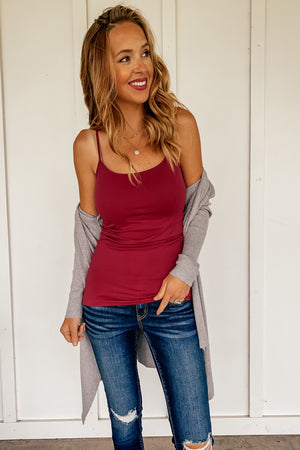 The Seamless Tank in Burgundy - LURE Boutique