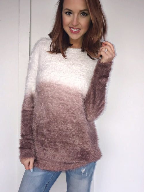 Fuzzy Ombre Sweater in Red Bean