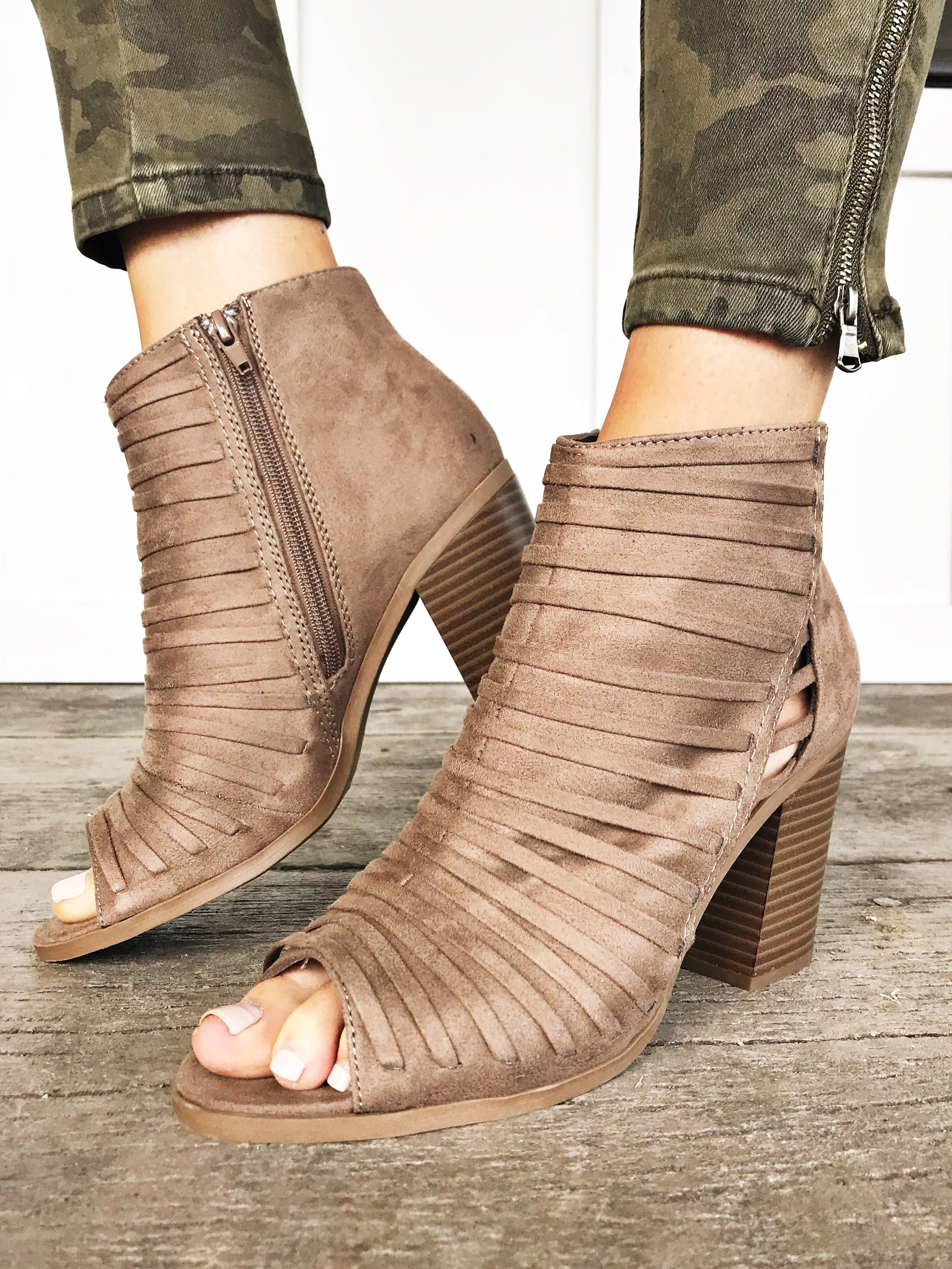Carissa Open Toe Taupe Booties
