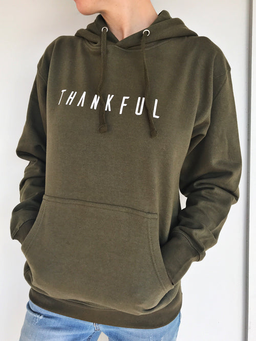 THANKFUL Pullover Hoodie - Olive