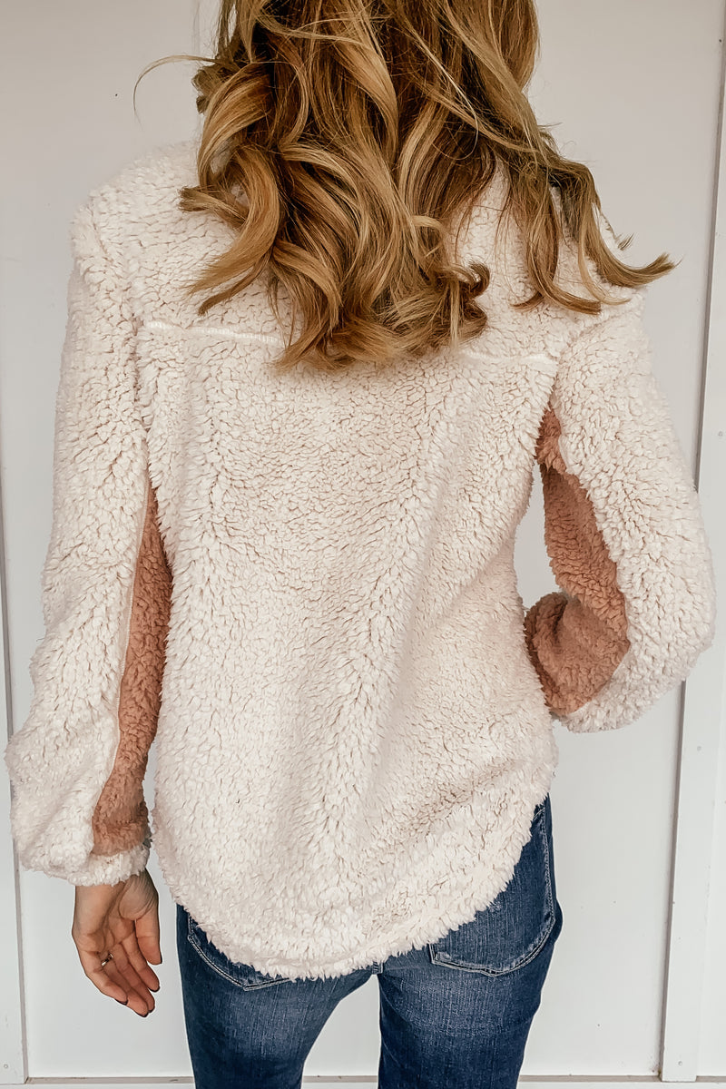 Landon Cream and Blush Sherpa
