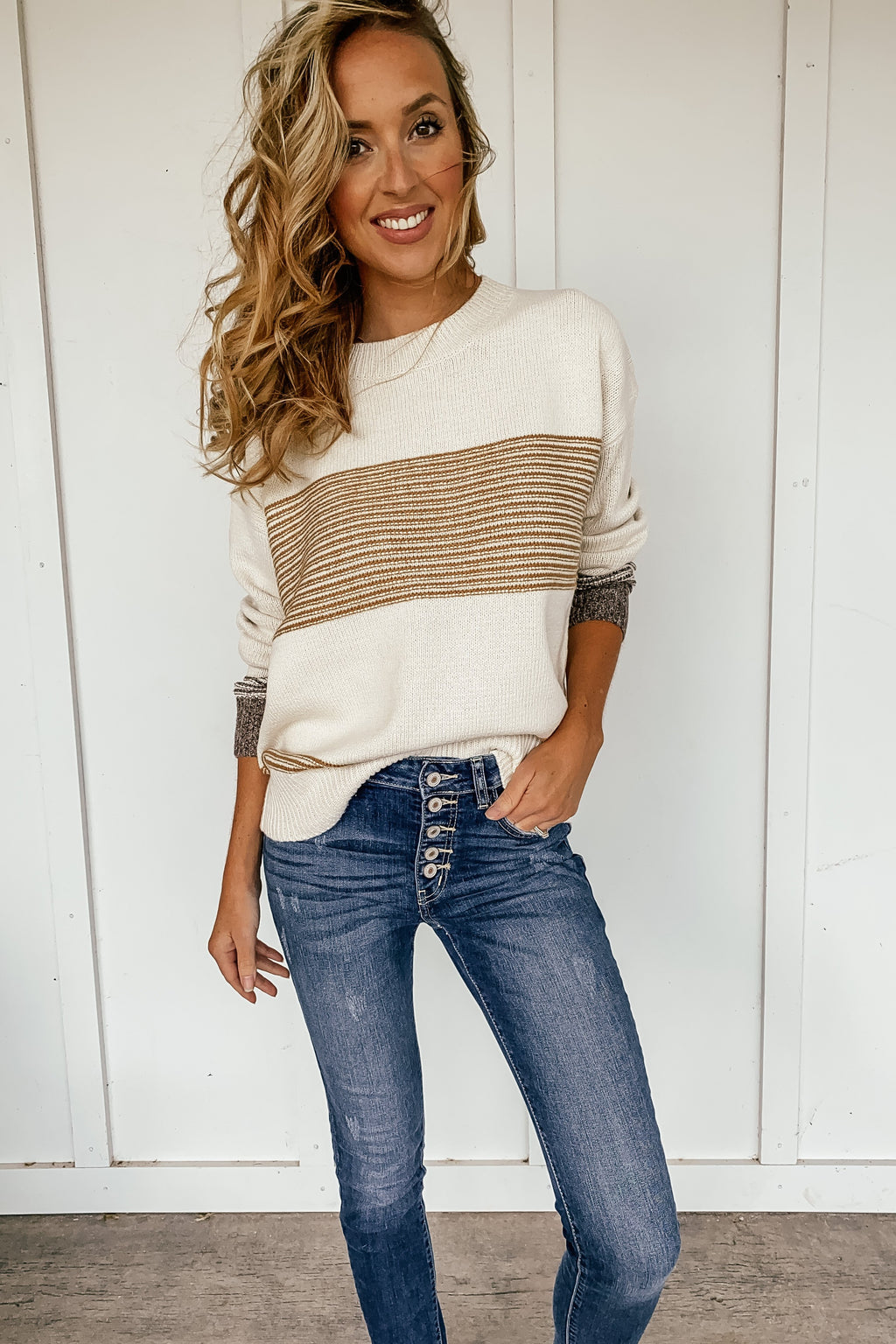 Mandi Block Stripe Sweater in Mustard - LURE Boutique