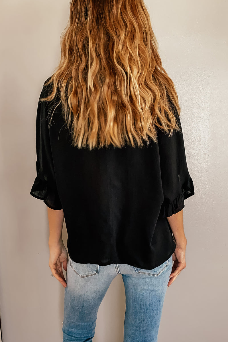 Woven Rayon Top in Black (Also in PLUS)