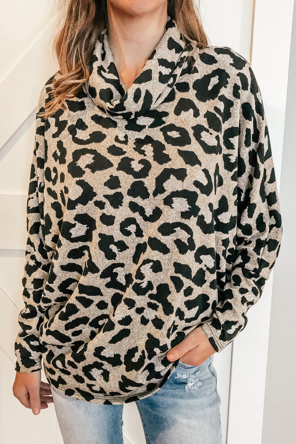 Lusty Leopard Cowl Neck Top