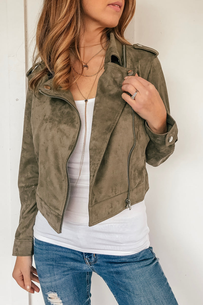 The Houston Suede Faux Olive Jacket