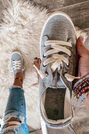 Keepin It Casual Sneakers in Heather Gray
