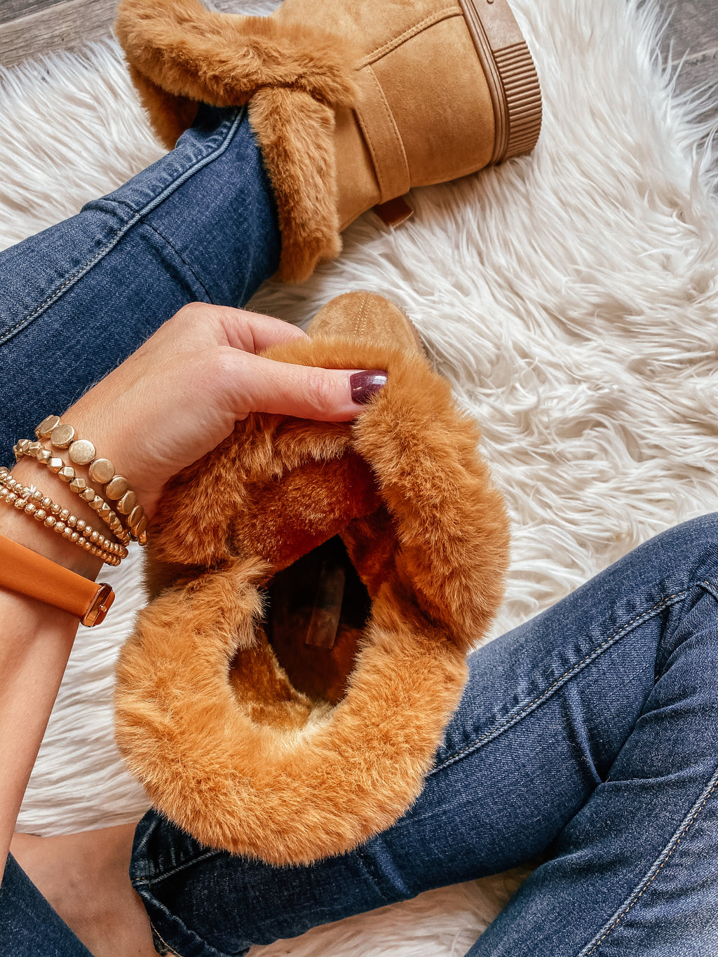 Libby Faux Suede Fur Boots in Hickory