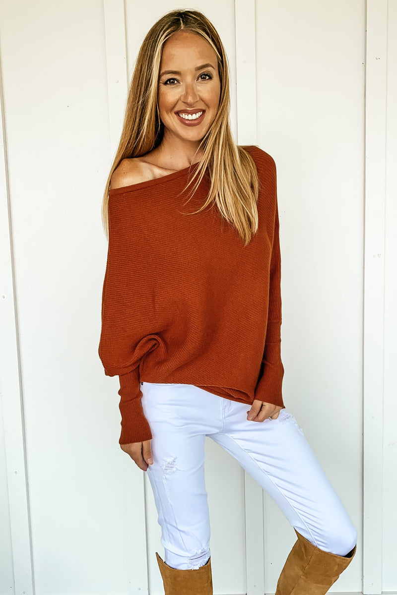 Off the Shoulder Oversized Sweater in Brick