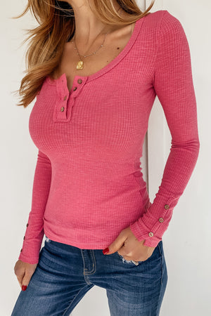 The Kit Henley in Hot Pink