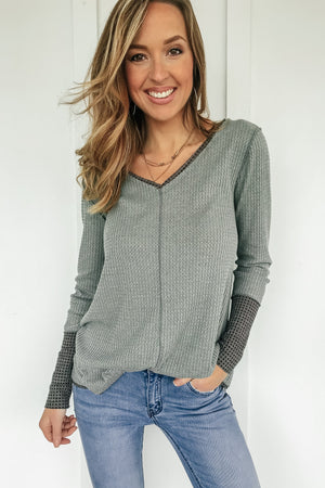 Double Take Waffle Knit Top