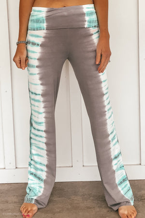 Fold Over Tie Dye Yoga Pants - Mint