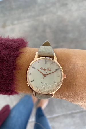 Floating Stone Leather Band Watch