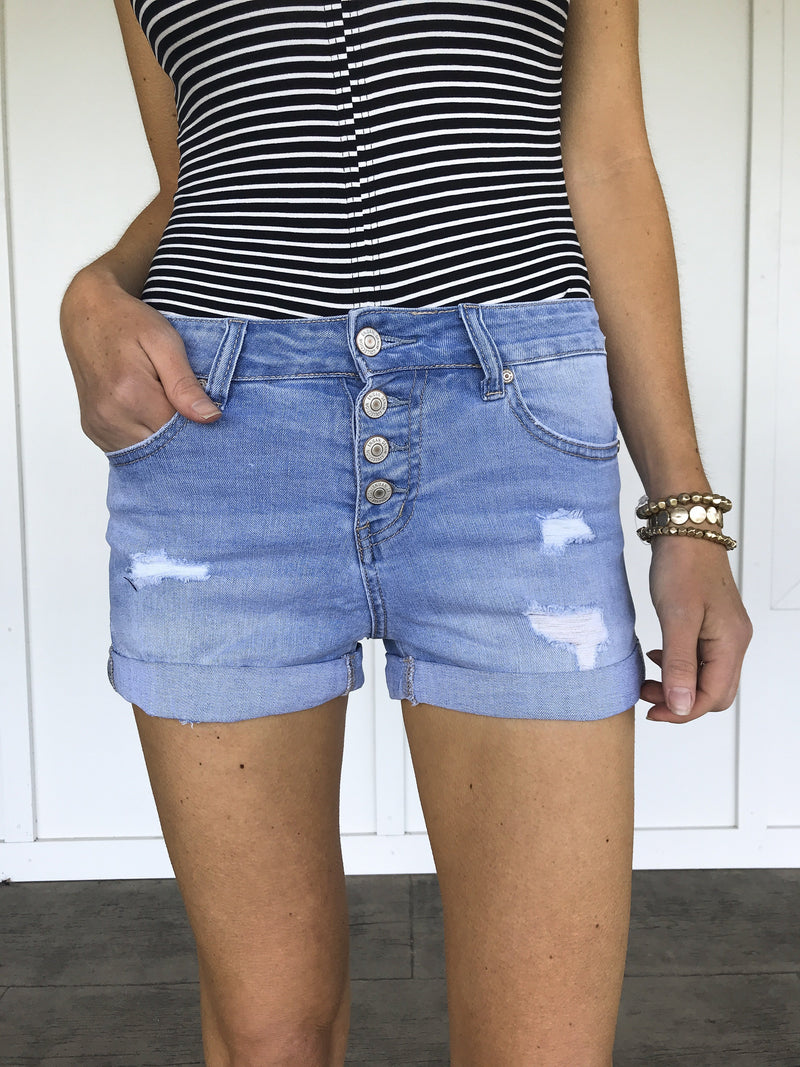 Ava Distressed High Rise Denim Shorts in Light Wash - LURE Boutique