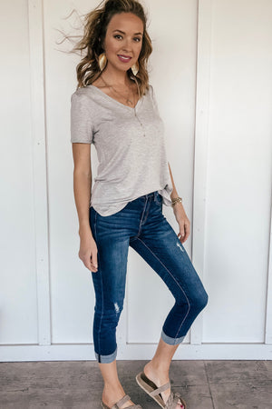 Dark Wash Cropped Jeans - LURE Boutique