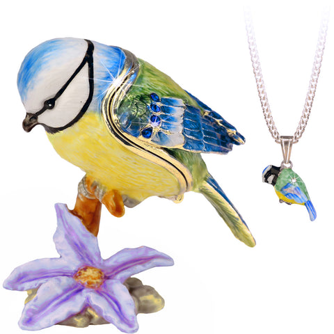 Secrets Blue Tit Bird Trinket Box With Hidden Pendant Necklace