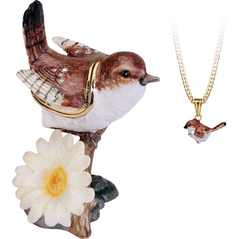 Secrets Bejeweled Wren Bird Trinket Box With Hidden Pendant Necklace