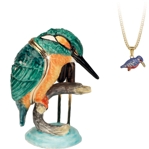 Secrets Kingfisher Bird Trinket Box With Hidden Pendant Necklace