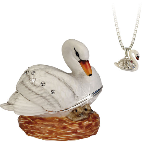 Secrets Swan Trinket Box With Hidden Pendant Necklace