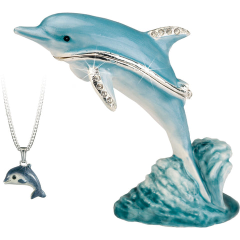 Secrets Dolphin Trinket Box With Hidden Pendant Necklace