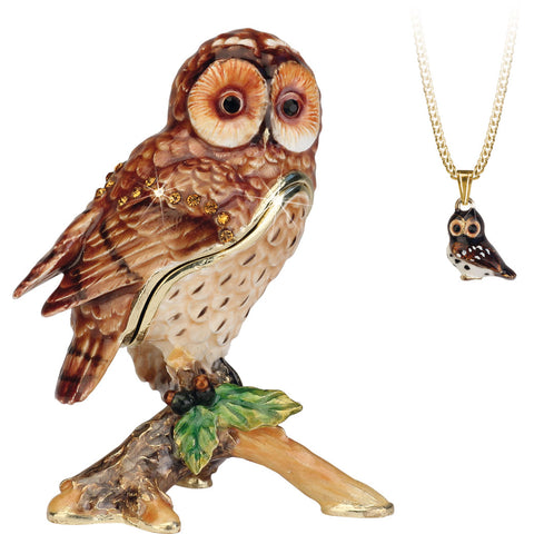 Secrets Tawny Owl Trinket Box With Hidden Pendant Necklace