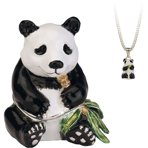 Secrets Panda Bear Trinket Box With Hidden Pendant Necklace